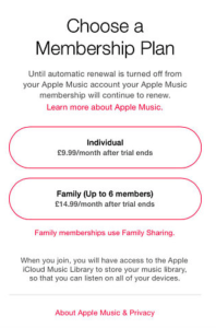 Apple Music Membership Plan